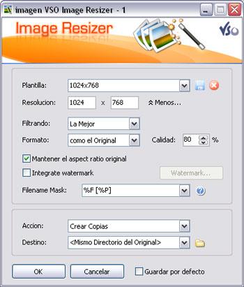 Interfaz del VSO Image Resizer